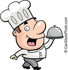 Cartoon Chef - A cartoon chef serving food.