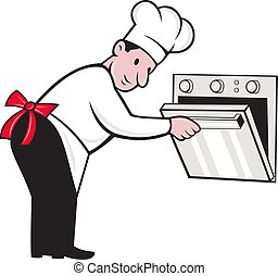 Illustration of a cartoon chef baker cook opening an oven on isolated white background.