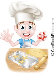 Cartoon Chef Boy Baking