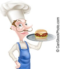 Cartoon Chef Burger