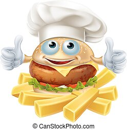 Cartoon chef burger and fries