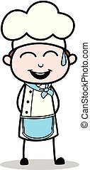 Cartoon Chef Cheerful Smile Vector Illustration