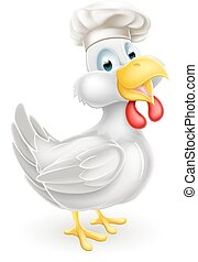 Cartoon Chef Chicken - A cartoon white chicken mascot...