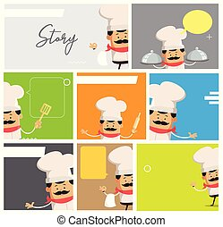 Cartoon Chef Comic Story Board Flat Vector Illustration...