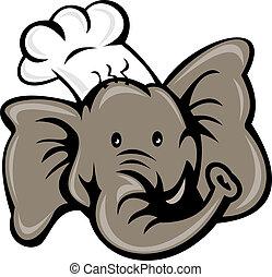 cartoon chef cook baker elephant head