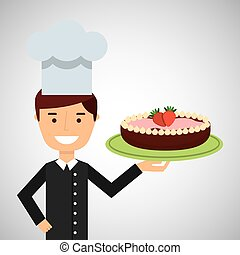 cartoon chef dessert cake chocolate with strawberry