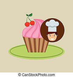 cartoon chef dessert cupcake cherry