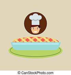 cartoon chef dessert fresh cake blue cream