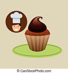 cartoon chef dessert sweet cupcake chocolate