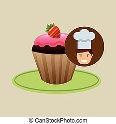 cartoon chef dessert tasty cupcake chocolate strawberry