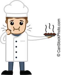 Cartoon Chef Eating Dessert