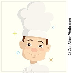 Cartoon Chef face Flat Vector Illustration Design