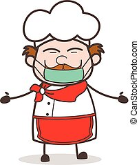 Cartoon Chef Face with Medical Mask Vector