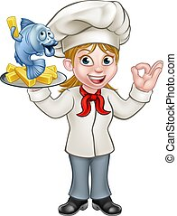 Cartoon Chef Fish and Chips Woman - A cartoon female chef...