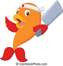 Cartoon chef fish holding soup ladl