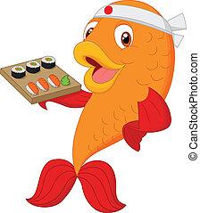 Cartoon chef fish holding sushi - vector illustration of...