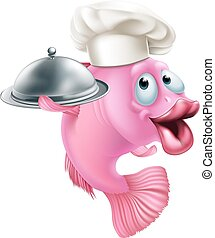 A cartoon chef fish mascot holding a tray or platter cloche, seafood character concept