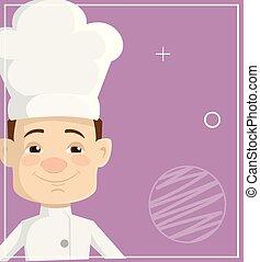 Cartoon Chef  Flat Vector Illustration Design