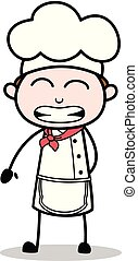 Cartoon Chef Funny Smiling Face Vector Illustration