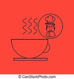 cartoon chef gourmet hot cup coffee