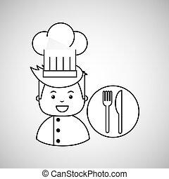 cartoon chef gourmet restaurant concept
