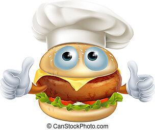 Cartoon chef hamburger character