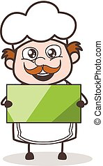 Cartoon Chef Holding a Banner Vector Illustration
