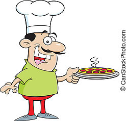 Cartoon Chef Holding a Pizza