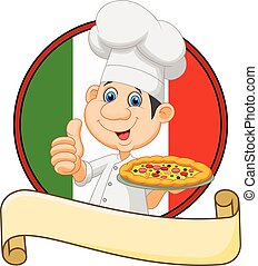 Cartoon chef holding a pizza