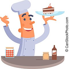 Cartoon chef holding cake