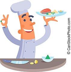 Cartoon chef holding fish steak