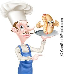 Cartoon Chef Holding Hot Dog Pointing