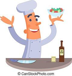 Cartoon chef holding salad