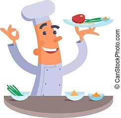 Cartoon chef holding steak