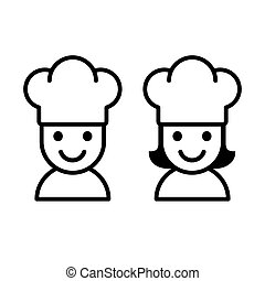 Cartoon chef icon - Simple cartoon male and female cook with...