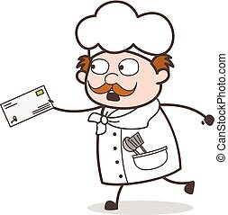 Cartoon Chef in Hurry to Deliver the Letter Vector Illustration