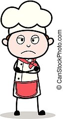 Cartoon Chef in Upset Mood Vector Illustration
