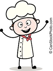 Cartoon Chef Joyful Expression Vector Illustration