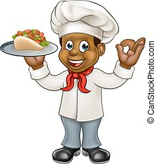 Cartoon Chef Kebab - A black chef cartoon character holding...
