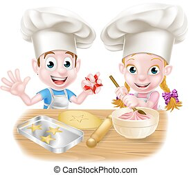 Cartoon Chef Kids Baking