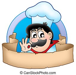 Cartoon chef logo with banner