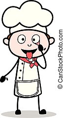 Cartoon Chef Making Funny Face Vector Illustration