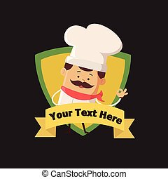 Cartoon Chef mascot Flat Vector Illustration Design