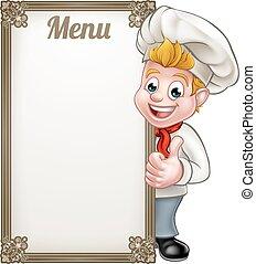 Cartoon Chef or Baker Character Menu