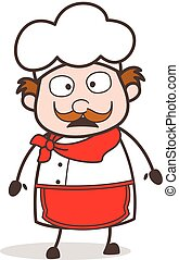 Cartoon Chef Pensive Face Vector Illustration