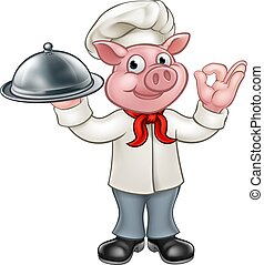 Cartoon Chef Pig Character