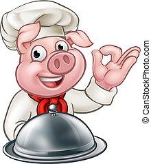 Cartoon Chef Pig Character Mascot