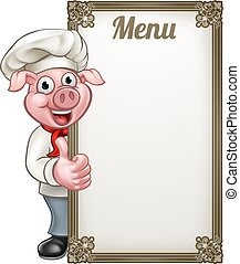 Cartoon Chef Pig Menu