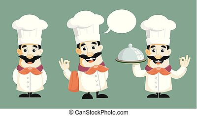 Cartoon Chef Poses Vector Illustration