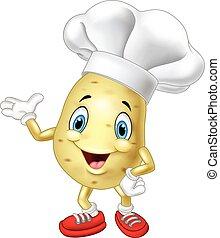 Cartoon chef potato waving hand - baker, bakery, cartoon, ...
